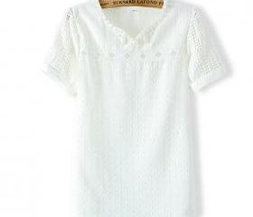 Ladies ' Fashion Bead White Patterned Chiffon Short Sleeve T [#1364]