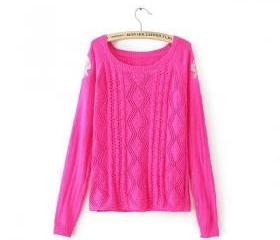 Crewneck Embroidered Organza Sleeves Spliced Openwork Knit Sweater [#3596]